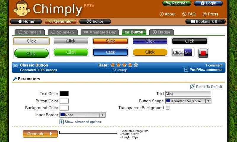 Con Chimply también podemos crear botones para la web Chimply: genial generador online de gráficos para tu web
