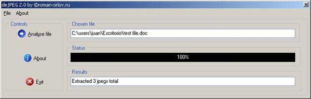 DeJPEG, extrae todas las imágenes jpeg de documentos de word o ejecutables exe