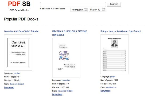 PDF SB, potente buscador de libros en formato PDF