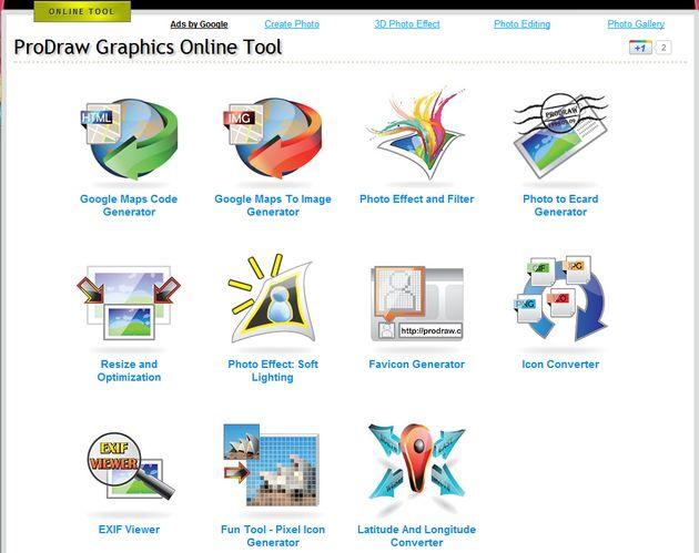 Prodraw Graphics Online Tools, conjunto de prácticas herramientas gratuitas para trabajar con gráficos