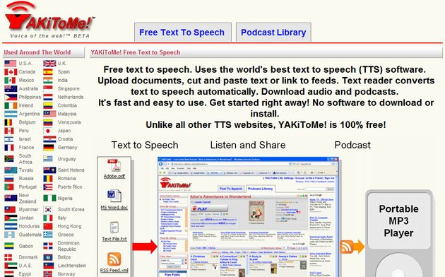 YAKiToMe YAKiToMe: convierte gratis y online cualquier doc, pdf, txt, feed RSS, web o email a MP3