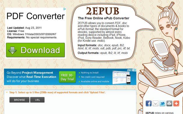 2ePub, herramienta online gratuita para convertir documentos a ePub y Mobi