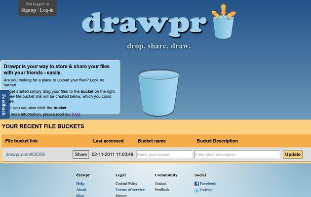 Drawpr, usa arrastrar y soltar para compartir archivos online