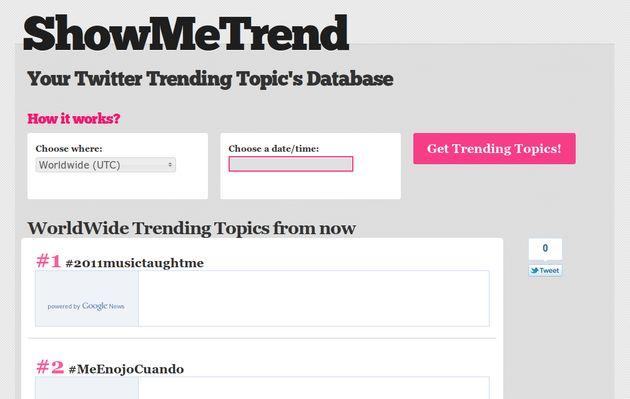 """ShowMeTrend, una """"hemeroteca"""" online con los Trending Topics de Twitter"""