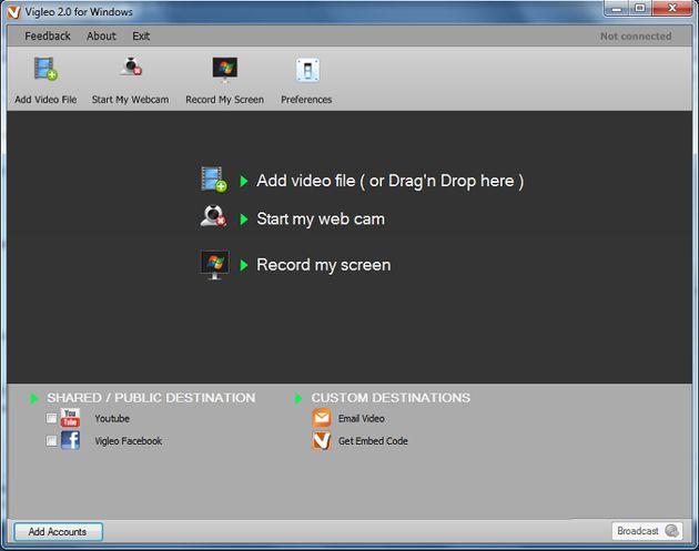Vigleo, captura un vídeo de tu Escritorio o webcam y compártelo