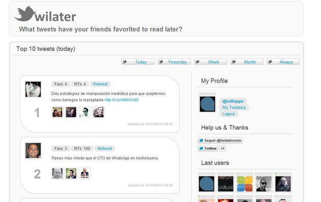 Twilater, un ranking con los tweets favoritos de tus contactos