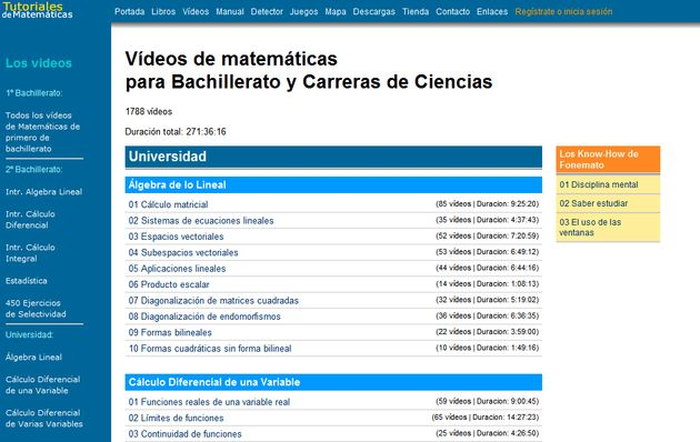 Fonemato, gran colección de videotutoriales y libros de matemáticas para estudiantes