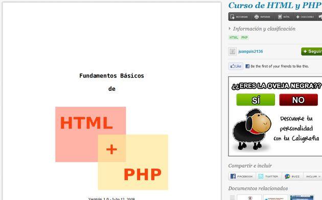 Manual gratuito para iniciarse en la programación HTML y PHP