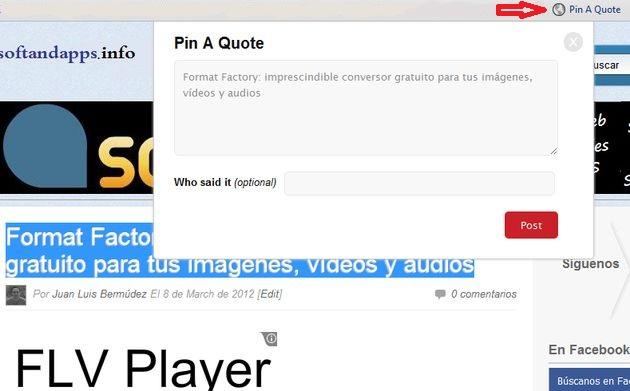 Pin A Quote, bookmarklet para convertir texto a imagen y compartirla en Pinterest