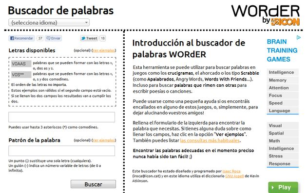 Worder Buscador De Palabras Para Crucigramas Scrabble Ahorcado Y