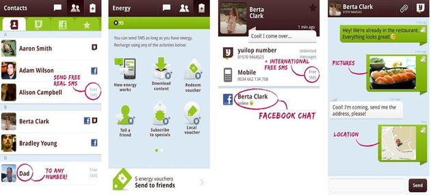 Yuilop, mensajería y envío de sms internacionales gratuitos e imilitados para Android e iOS