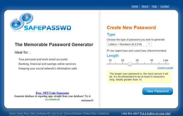SafePasswd, generador gratuito de contraseñas seguras