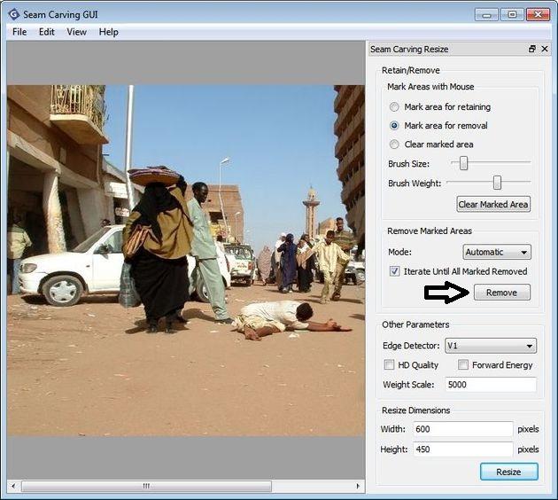 Seam Carving GUI, aplicación multiplataforma gratuita para eliminar objetos o personas de fotos