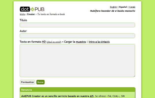 dotEPUB Creator, utilidad web gratuita para crear un ePub o Mobi a partir de texto plano