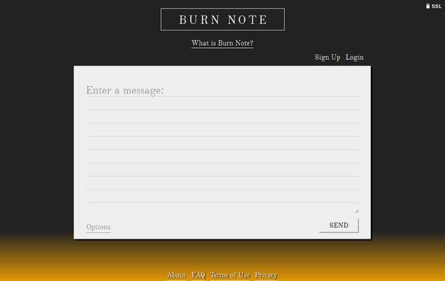 Burn Note, envía notas personales que se eliminan automáticamente tras un tiempo