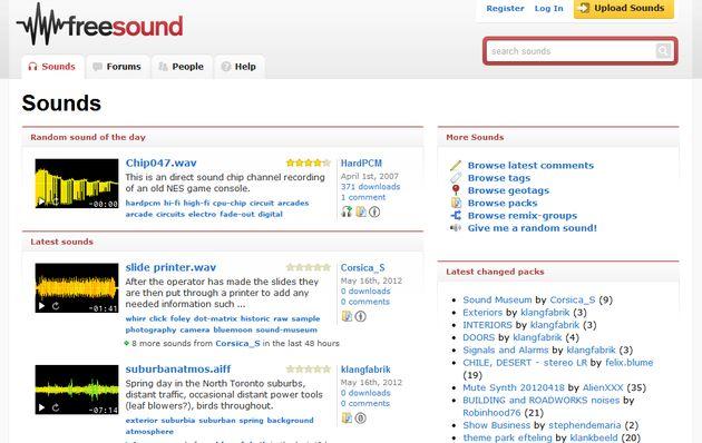 Freesound, banco de sonidos de dominio público o con licencia Creative Commons