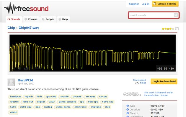 Freesound2 Freesound, banco de sonidos de dominio público o con licencia Creative Commons