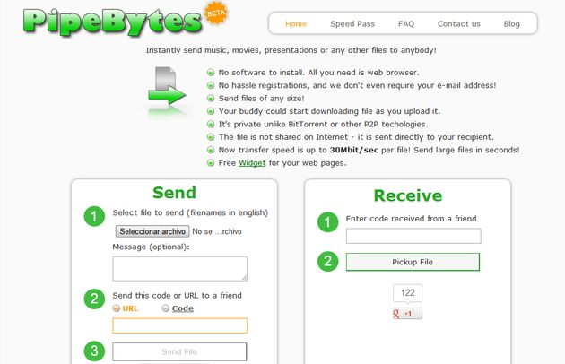 PypeBytes, envía gratis archivos sin ninguna limitación de tamaño