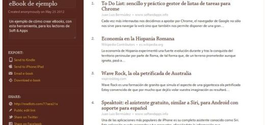 Readlists: recopila artículos de páginas web y conviértelos en un ePub para descargar, enviar a Kindle, iPhone o iPad