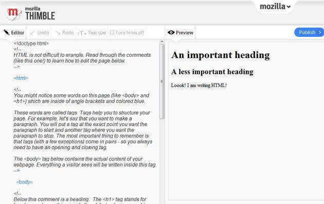 Thimble: editor online, de la fundación Mozilla, para practicar y aprender HTML