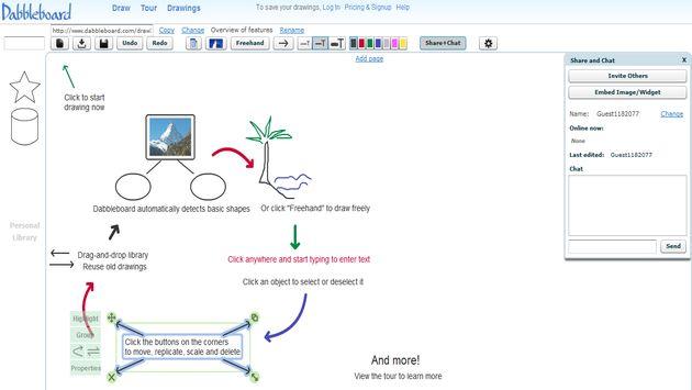 Dabbleboard, pizarra virtual y online para realizar bocetos o esquemas de forma colaborativa