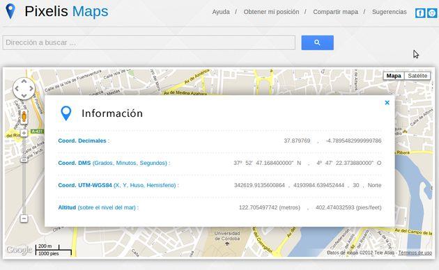 Pixelis Maps, una forma rápida de obtener las coordenadas GPS de cualquier lugar