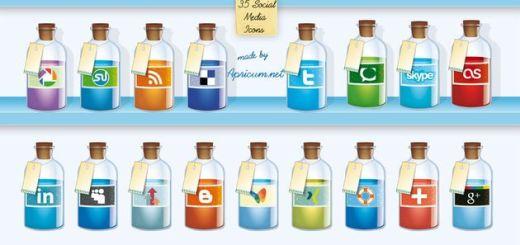 35 bonitos iconos sociales gratuitos con forma de botella