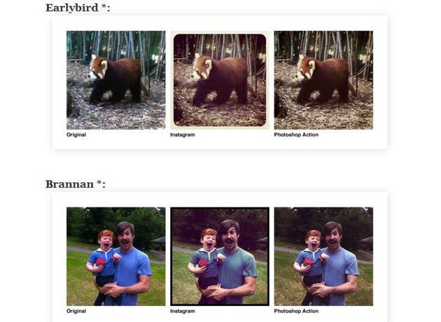 Colección de filtros de Instagram como acciones para Photoshop