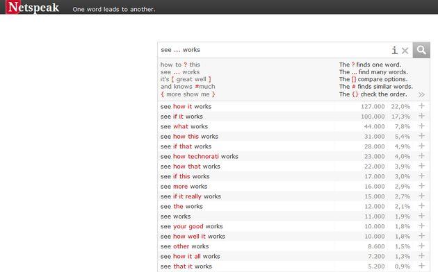 Netspeak, corrector online para comprobar si una frase en inglés está escrita de forma correcta