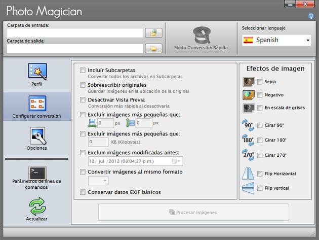 Photo Magician: soft gratis para convertir entre formatos, redimensionar o aplicar efectos a lotes de imágenes