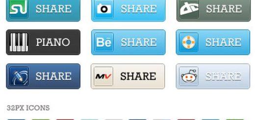 Gran colección gratuita de botones e iconos de las redes sociales más populares