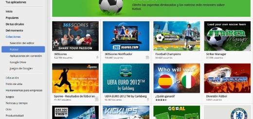 Nueva categoría de fútbol, en la Chrome Web Store, para los seguidores del deporte rey