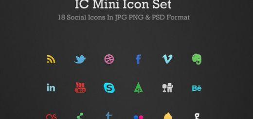 IC Mini Icon Set, un bonito pack con 18 pequeños iconos sociales gratuitos