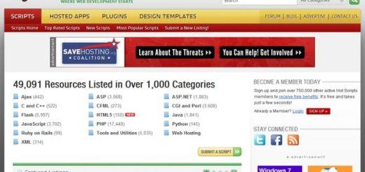 Hot Scripts: banco online con más de 49000 recursos, códigos y scripts para tus proyectos