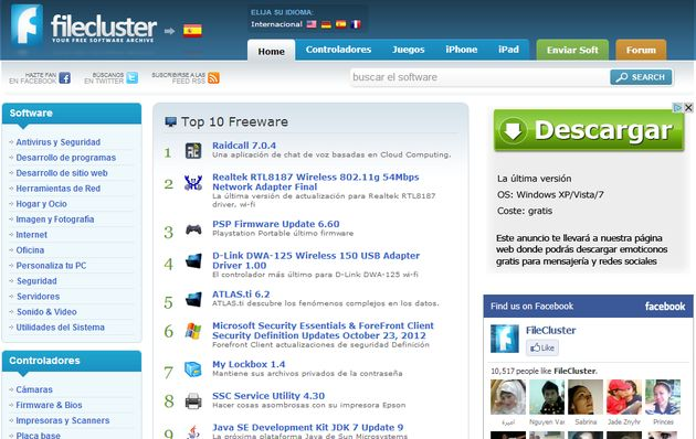 Filecluster Filecluster: gran directorio de descargas de software para Windows, drivers y aplicaciones iOS