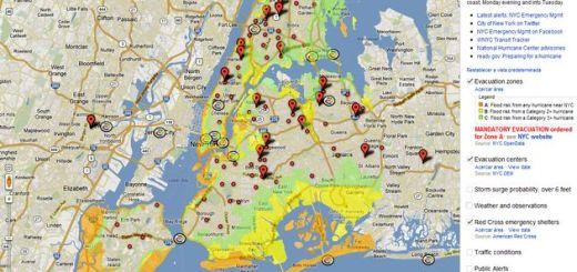 Hurricane Sandy: NYC, un mapa de Google para seguir al Huracán Sandy a su paso por Nueva York