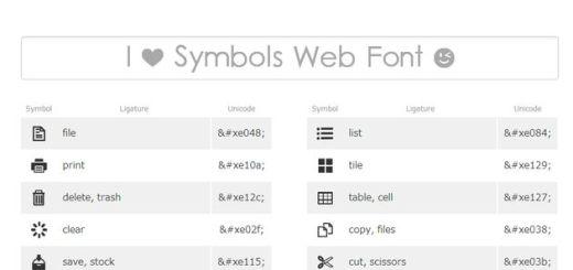 Ligature Symbols, una gran colección de símbolos en caracteres Unicode para desarrolladores web