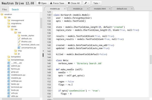 Neutron Drive, un editor de código en línea sincronizado con Google Drive
