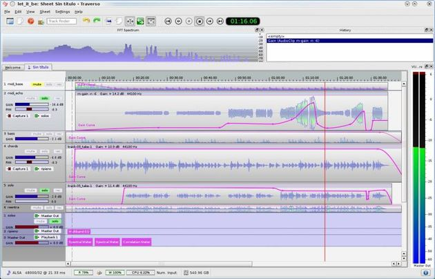 Traverso DAW, software gratuito para grabar y editar audio con versiones para Windows, Linux y Mac
