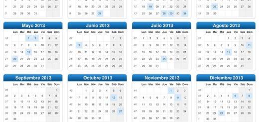 Calendario 2013 para descargar en formato PDF y JPG