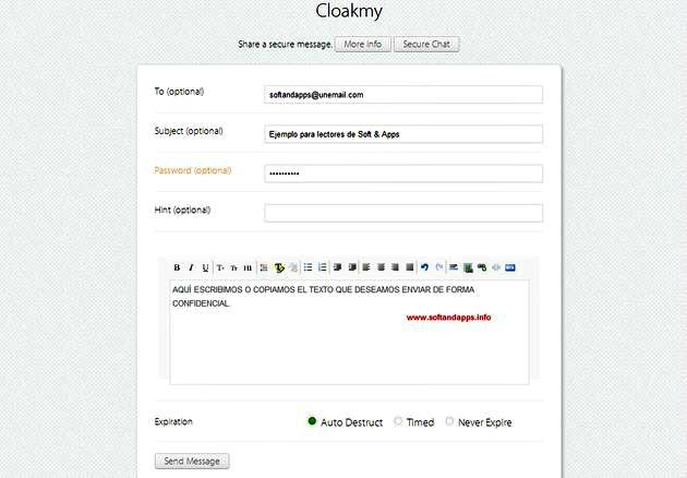 Cloakmy, envía mensajes cifrados que pueden auto-destruirse o expirar tras un tiempo