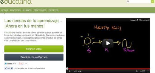 Educatina, cientos de vídeos educativos en español y ejercicios para comprobar los conocimientos adquiridos