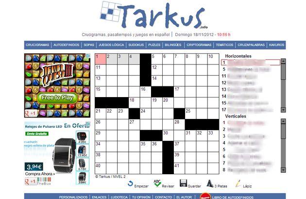 Tarkus, todo tipo de pasatiempos en español para resolver online