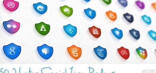 50 Free Vector Social Media Icons, 50 bellos iconos sociales con forma de escudo