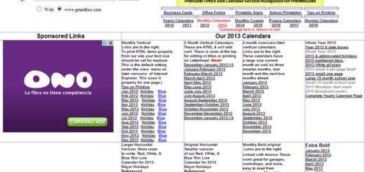 Calendario 2013 para imprimir completo, por meses o periodos
