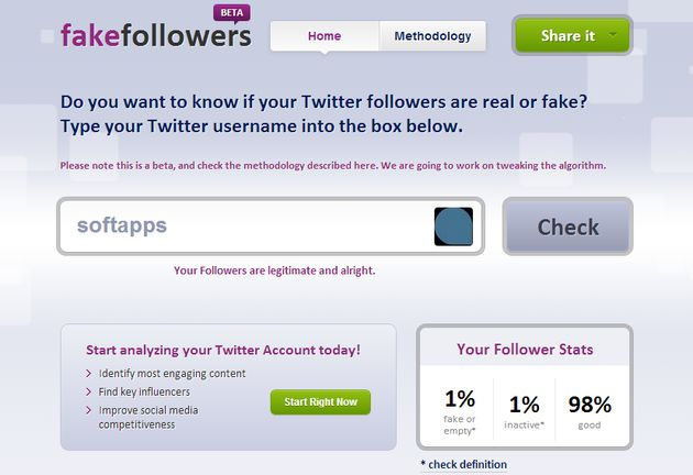 Fake Followers Check Fake Followers Check, analiza tu cuenta de Twitter para descubrir cuántos de tus seguidores son reales