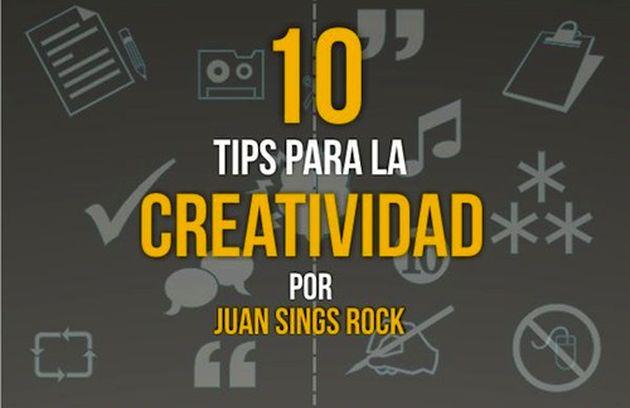 Una infografía con 10 consejos para aumentar nuestra creatividad
