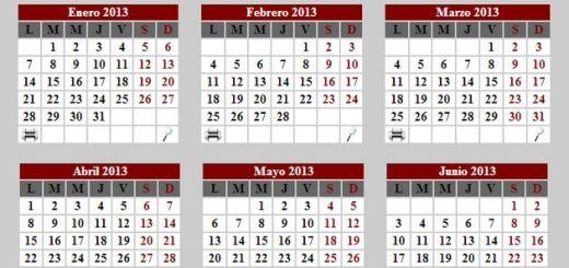 Calendario 2013 para imprimir completo o por meses