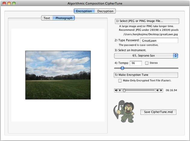 CipherTune, cifrado de imágenes y textos en archivos MIDI