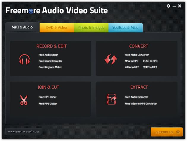 Freemore Audio Video Suite Freemore Audio Video Suite: suite multimedia gratuita para disfrutar, convertir y editar tus audios y vídeos